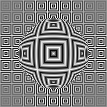 Black and white optical illusion square pattern with 3D sphere. Digitally generated abstract optical illusion with sphere and effect of shimmering.