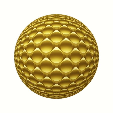Gold metal 3D sphere with circles pattern isolated on white. Digitally generated geometric golden metal ball with 3D glass hemispheres pattern isolated on white background.