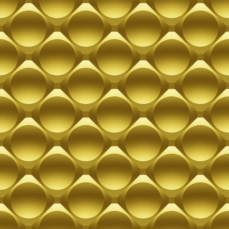 Gold metal circles seamless 3D pattern. Digitally generated geometric seamless pattern of golden metal tile with the effect of glass hemispheres for design and 3D rendering.
