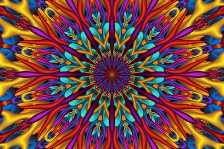 Colorful glossy 3D fractal mandala. Digitally generated intricate colorful 3D fractal mandala with many glossy elements.