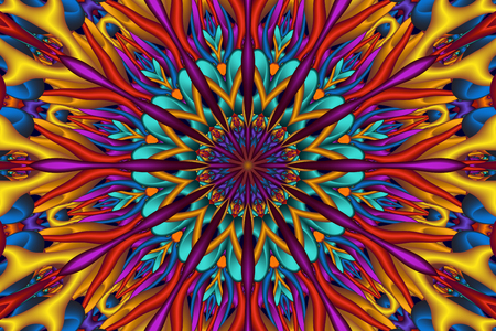pearly: Colorful glossy 3D fractal mandala. Digitally generated intricate colorful 3D fractal mandala with many glossy elements.