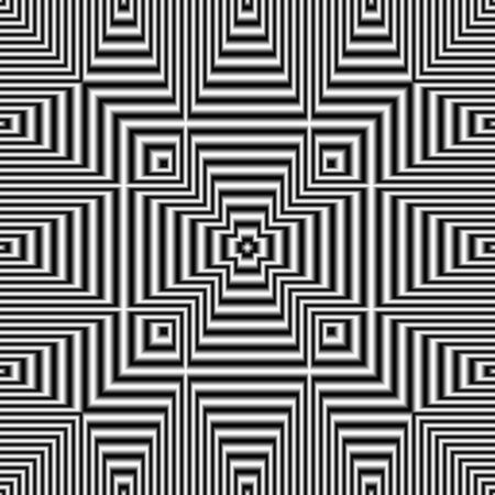 Geometric optical illusion black and white seamless pattern. Digitally generated abstract optical illusion seamless pattern with effect of shimmering and volume. Banque d'images