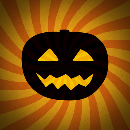 Halloween pumpkin grunge vintage shining silhouette. Dark smiling Halloween pumpkin silhouette with glowing eyes and mouth on the retro striped background with grunge texture.