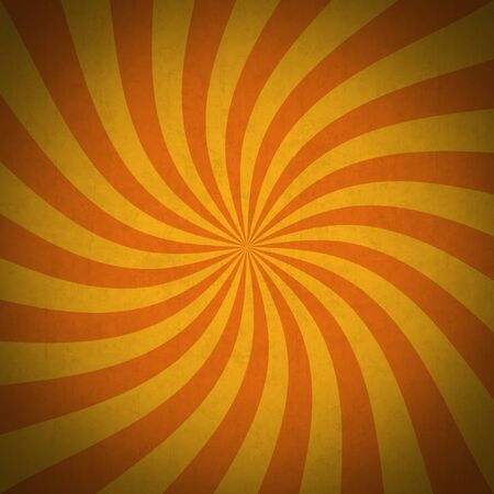 Orange rays grunge vintage background. Retro background with striped swirl, grunge texture and vignette. Useful as a Halloween background.