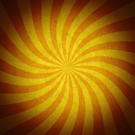 Colorful orange rays grunge vintage background. Vivid retro background with orange striped swirl, grunge texture and vignette. Useful as a Halloween background. Stock Photo
