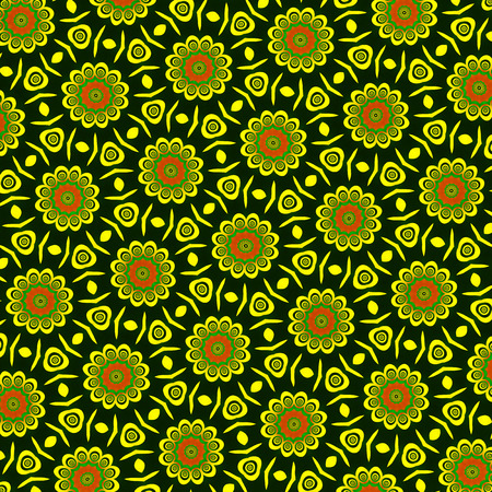 Colorful ethnic floral pattern. Digitally generated vivid hexagonal pattern with stylized flowers, abstract elements and texture, a little asymmetric. Banque d'images