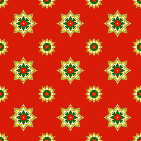 Fractal Christmas stars on red, raster seamless pattern. Unusual seamless Christmas design with fractal ornament looks like stars or medals.