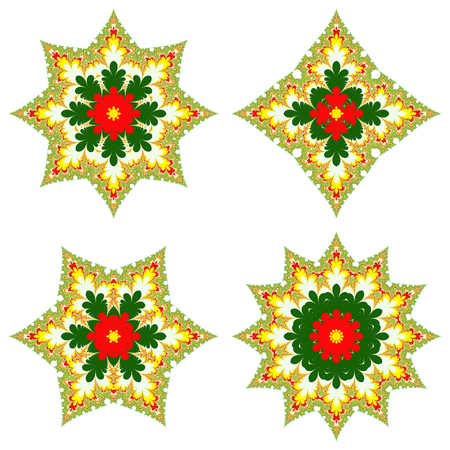 Fractal Christmas stars set isolated on white background. Four different fractal ornaments looks like stars or medals, in Christmas colors on white background. Very large maximum resolution 73007300px for the best quality. Banque d'images