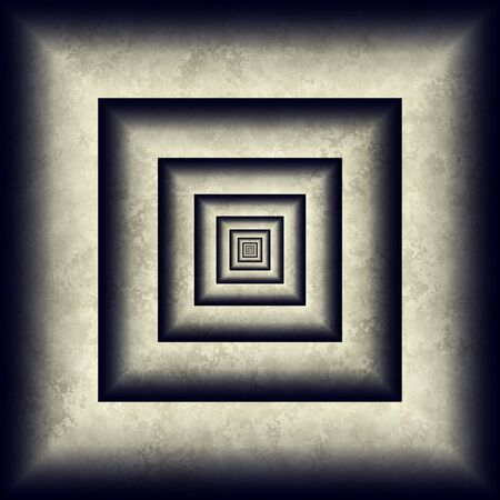 Endless tunnel, minimal grunge 3D abstraction. Concentric squares with patina texture looks like infinite tunnel, digital abstract minimal art.