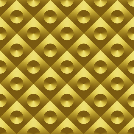 Gold metal 3D raster seamless pattern. Digitally generated geometric seamless pattern, golden metal tile with convex diamonds and sunken cones, can be used for 3D rendering.