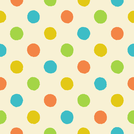 kiddie: Rough polka dot vector seamless pattern. Seamless retro polka dot pattern with uneven orange, yellow, green and blue circles on a light beige background, vector EPS8. Illustration