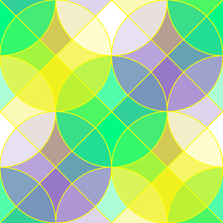 Colorful geometric tile vector seamless pattern. Abstract geometric seamless ornament consists of circles and squares, in spring color palette, vector EPS8.