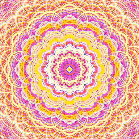 Intricate striped flower-like fractal mandala. Digitally generated ornate mandala in bright and pastel warm colors.