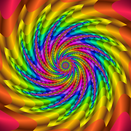 Rainbow colored fractal spiral. Digitally generated glossy 3D swirl.
