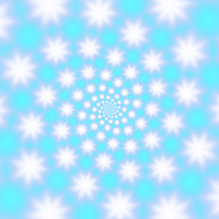 wintery: Fluffy snowflakes whirl on a sky blue background, raster illustration. Blurry snowflakes spiral with subtle matte texture. Inspiring winter abstract, may be used for the Christmas and New Year design.