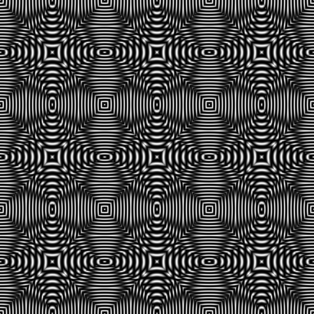 Black and white optical illusion, raster seamless pattern. Digitally generated abstract geometric ornament with 3D effect and metallic luster.