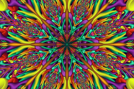 Rainbow colored glossy fractal mandala. Digitally generated colorful 3D mandala with many glossy elements.