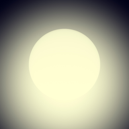 Round glowing lamp, 3D render. Digitally generated spherical lamp shining a warm light in the dark. Simple minimalistic raster illustration with soft focus.