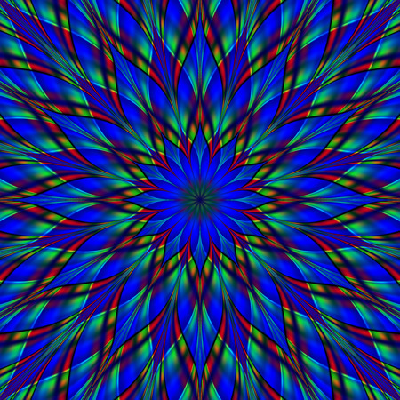 Stained glass flower mandala. Digitally generated fractal mandala, looks like stained glass ornament with frosted surface. Banque d'images