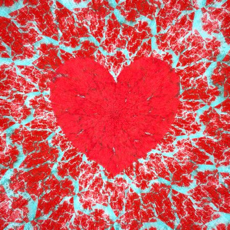 Frosty heart, love and Valentine's day raster illustration. Digitally generated red heart symbol on a frosty spiral background, with unusual fractal texture. Banque d'images
