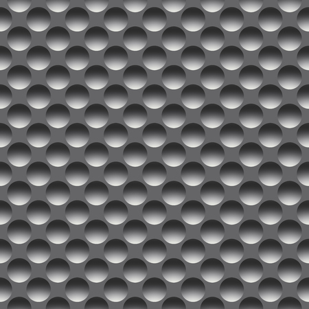 Metal seamless pattern with round holes, raster. Digitally generated metal tile with symmetric concave circles. Banque d'images