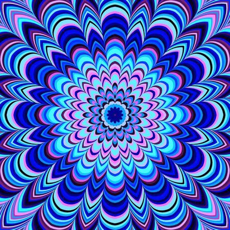 Neon blue geometric mandala, raster. Digitally generated bold striped mandala in blue and pink tones.