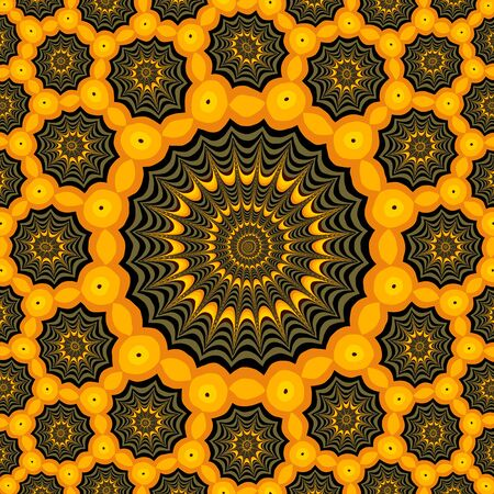 Spider webs, Halloween fractal art. Digitally generated cute pattern for Halloween, with many fractal spiderwebs, and orange circles symbolizing Jack-o'-lanterns.