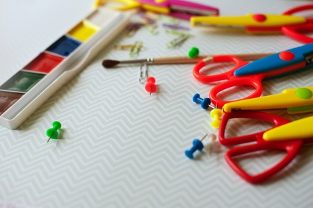 Full background of a colorful assortment of school supplies Stock Photo