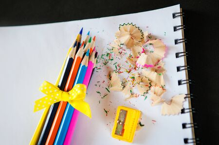 shavings: set of colored pencils bound bow with sharpener and shavings