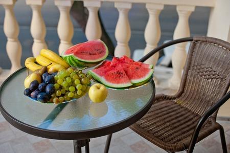 bawl: elegant mediterranean terrace with fruit and floewr bawl