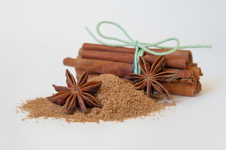 Cinnamon sticks and powder on white background. baking spices Stock Photo