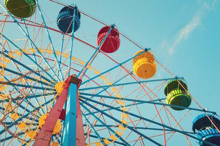 ferriswheel: Vintage Ferris Wheel Over Turquoise Sky