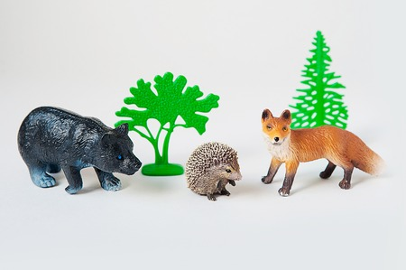 little animal toys Fox, bear and hedgehog on white background Stock Photo