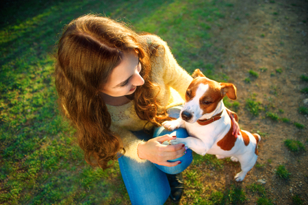 Young beautiful woman holds a hand over the pet dogs paw on a background of spring park Stock Photo