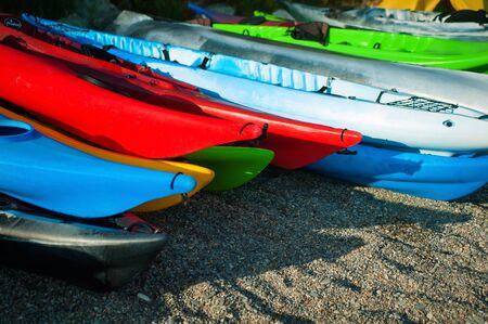 lifevest: Kayak multi-colored beach