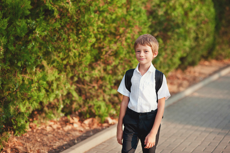 žák: Little schoolboy comes back from school in good mood. The boy goes on a footpath. He has raised eyes to the sky and smiles. Behind shoulders at the pupil a satchel.