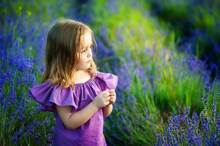 Beautiful girl playing in blooming lavender flower field. Children play in spring flowers. Stockfoto