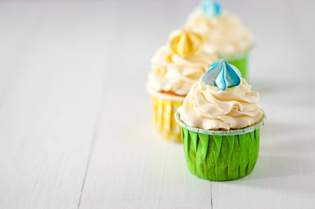 Tasty colorful cupcake on table. Copy space for Text. Stockfoto
