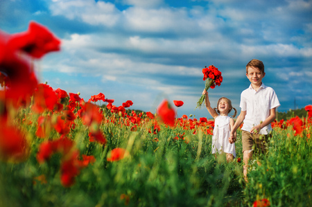 happy brother and sister walking in the field of red poppies