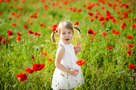 Portrait of an adorable toddler girl is surprised in a white dress play in a beautiful field of red poppies