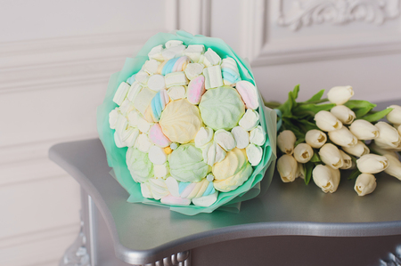 bouquet sweet pink flowers of zephyr marshmallow. Valentines Day Gift. Tasty gift for birthday.