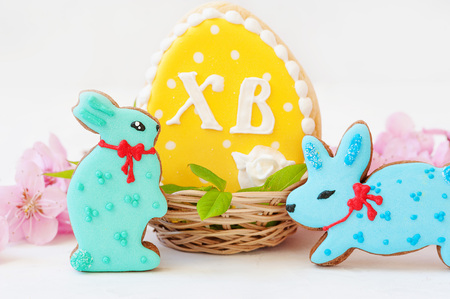 Sweets, pastry for Easter table. Easter eggs and Easter bunny concept. Traditional orthodox christian easter.