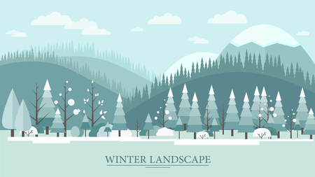 hill: Flat design nature winter landscape illustration with tree hills and clouds. Illustration