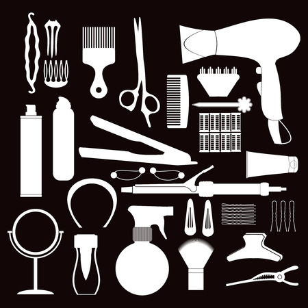 hairdressing accessories: Hairdressing related symbol. Vector set of accessories for hair.