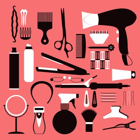 Fryzjerstwo powiązany symbol. Wektor zestaw akcesoriów do włosów.
