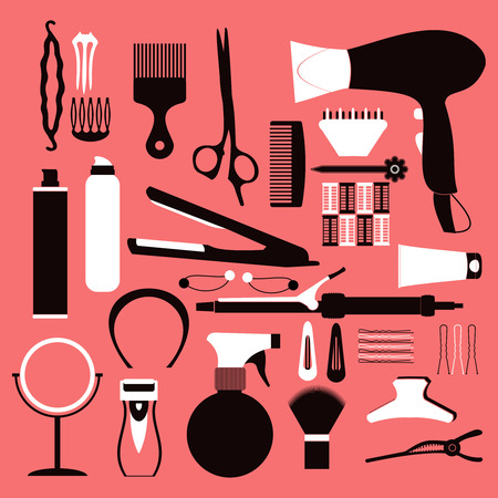 Hairdressing related symbol. Vector set of accessories for hair.