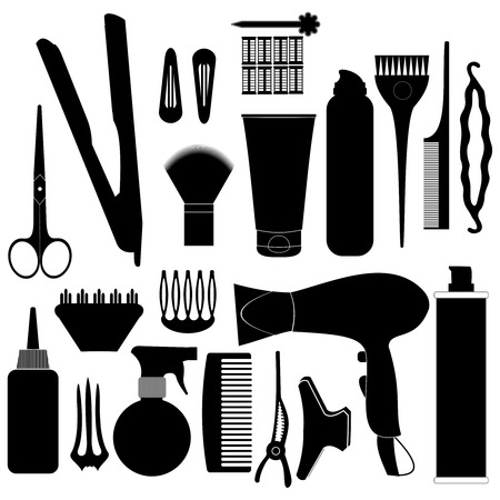 clippers comb: Hairdressing related symbol. Vector set of accessories for hair.