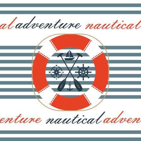 ship steering wheel: Nautical icon set. Anchor, lifebuoy, ship steering wheel.