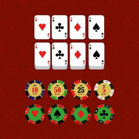 gambling chip: Casino  design elements vector icons. Casino games.Ace playing cards with chips on green background.Set of gambling chip.