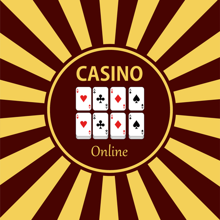 gambling chip: Casino  design elements vector icons. Casino games.Ace playing cards with chips on green background.Set of gambling chip